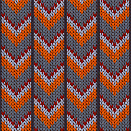Handicraft downward arrow lines knitting texture geometric vector seamless. Pullover hosiery textile print. Norwegian style seamless knitted pattern. Cozy textile print design.