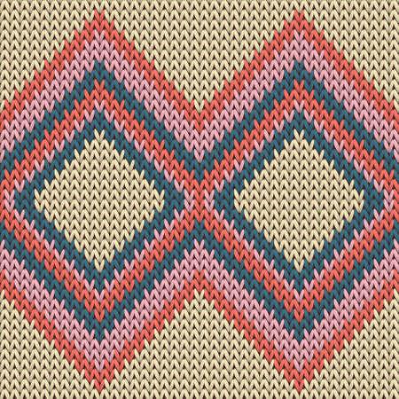 Handicraft rhombus argyle knitted texture geometric seamless pattern. Carpet knit effect ornament. Nordic style seamless knitted pattern. Handicraft backdrop.
