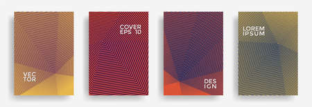Hexagonal halftone pattern cover pages vector minimal design. Polygonal lines texture backdrops. Party invitation flyer templates set. Cover page layouts, posters, banners collection.