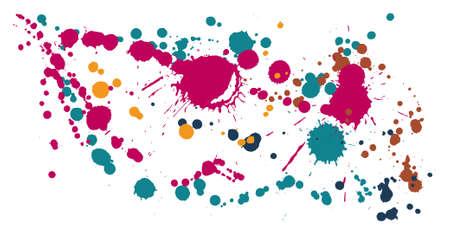 Graffiti spray stains grunge background vector. Artistic ink splatter, spray blots, dirty spot elements, wall graffiti. Watercolor paint splashes pattern, smear liquid stains spots backdrop.