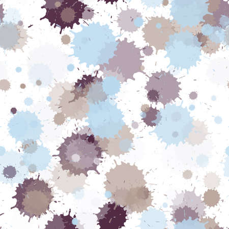 Watercolor paint transparent stains vector seamless wallpaper pattern. Sprawling ink splatter, spray blots, mud spot elements seamless. Watercolor paint splashes pattern, smear liquid stains.