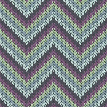Close up zigzag chevron stripes christmas knit geometric seamless pattern. Pullover stockinet ornament. Fashionable seamless knitted pattern. Handicraft backdrop. Vettoriali