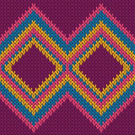 Cotton rhombus argyle knit texture geometric vector seamless. Rug knitwear structure imitation. Traditional seamless knitted pattern. Handicraft backdrop. Vettoriali