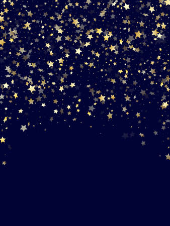 Gold gradient star dust sparkle vector background. Trendy gold star sparkles dust elements on dark blue night sky vector illustration. Christmas tinsels scatter flying pattern.