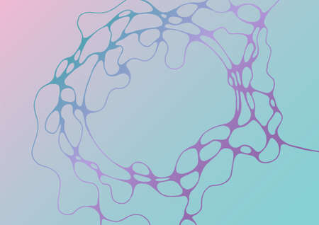 Chain structure abstract futuristic mint and deep purple vector background. Curve lines network tissue grid composition. Cool medical background. Trendy gradient shapes composition for placards