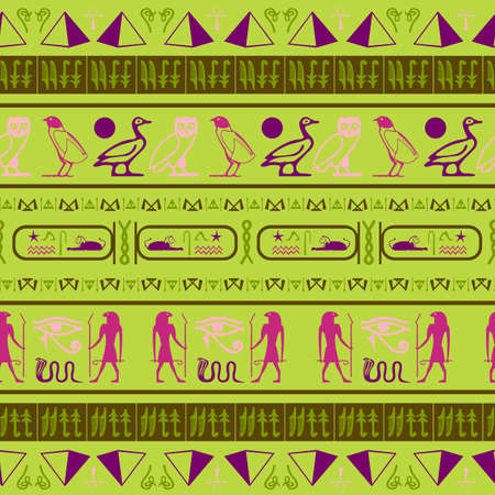 Cool egypt writing seamless vector. Hieroglyphic egyptian language symbols origami. Repeating ethnical fashion background for brochure or booklet.