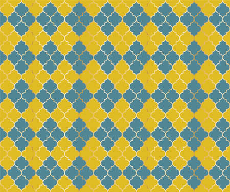 Eastern Mosque Vector Seamless Pattern. Argyle rhombus muslim textile background. Traditional ramadan pattern with gold grid. Cool islamic argyle seamless design of lantern lattice shape tiles.