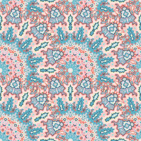 Medallion floral seamless pattern. Diwali folk vector composition. Tangle elegant kaleidoscope geometric seamless ornament. Wrapping paper print.