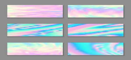 Holography trendy flyer horizontal fluid gradient mermaid backgrounds vector collection. Girlish hologram texture gradients. Fluid liquid print minimal mermaid backgrounds.
