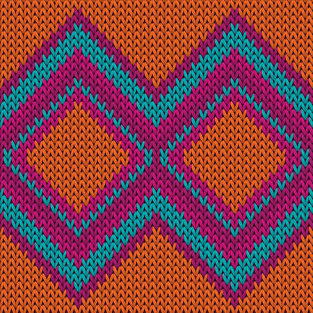 Bright rhombus argyle knitted texture geometric vector seamless. Carpet hosiery textile print. Scandinavian style seamless knitted pattern. Winter holidays wallpaper.