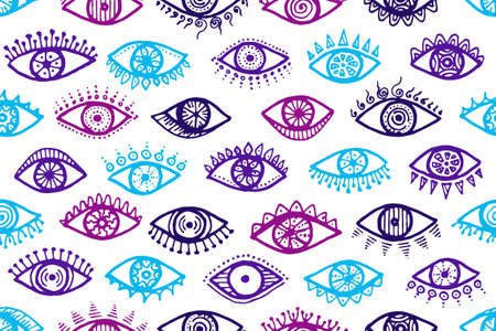 Doodle open eyes abstract seamless ornament. Sketch drawing style illustration. Makeup wrapping print design. Open eyes on white background ethnic endless pattern.