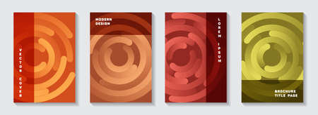 Promotional catalogue title pages collection. Graphic banner circles spiral motion vector backdrops. Aim goal achievement circles concept. Trendy booklet covers design. 矢量图像