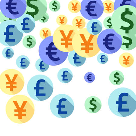 Euro dollar pound yen round signs scatter currency vector design. Financial backdrop. Currency symbols british, japanese, european, american money exchange signs background.
