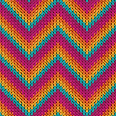 Bright zigzag chevron stripes knit texture geometric vector seamless. Blanket knitting pattern imitation. Scandinavian style seamless knitted pattern. Fabric canvas illustration. Vector Illustratie
