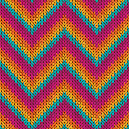Bright zigzag chevron stripes knit texture geometric vector seamless. Blanket knitting pattern imitation. Scandinavian style seamless knitted pattern. Fabric canvas illustration. Ilustração Vetorial