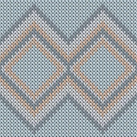 Fairisle rhombus argyle knitted texture geometric seamless pattern. Plaid knitwear fabric print. Winter seamless knitted pattern. Abstract xmas wallpaper.