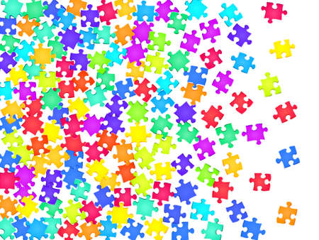 Abstract tickler jigsaw puzzle rainbow colors parts vector illustration. Scatter of puzzle pieces isolated on white. Teamwork abstract concept. Jigsaw gradient plugins.