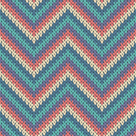 Woolen zigzag chevron stripes knitted texture geometric vector seamless. Carpet stockinet ornament. Classic warm seamless knitted pattern. Fabric canvas illustration.