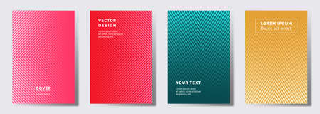 Colorful covers linear design. Geometric lines patterns with edges, angles. Cool backgrounds for cataloges, corporate brochures. Line shapes patterns, header elements. Annual report covers.