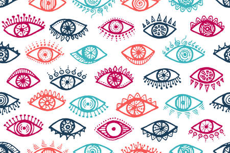 Different human eyes tribal endless pattern. Sketch drawing style illustration. Fashion wrapping print design. Isolated eyes with girly eyelashes cartoon repeatable ornament. Vettoriali
