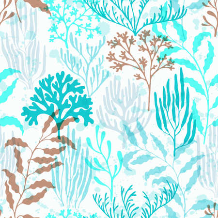 Ocean corals seamless pattern. Kelp laminaria seaweed algae background. Caribbean staghorn and pillar corals diversity. Marine water plants wallpaper vector graphics. Exotic marine life pattern.  イラスト・ベクター素材