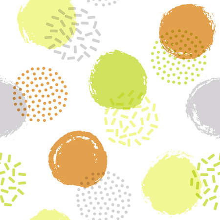 Memphis circles seamless fabric print pattern. Painted and halftone round shapes vector background. Grunge polka dot seamless ornament, hipster circles wallpaper. Retro design.