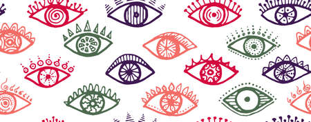 Different female eyes colorful endless ornament. Pop art graphic style illustration. Fashion packaging vector design. Isolated eyes on white background esoteric seamless pattern. Vettoriali