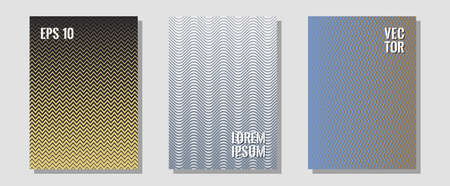 Halftone flat patterns abstract vector set. Trendy magazines. Zigzag halftone lines wave stripes backdrops. Contemporary collection. Geometric covers of lines gradient flat patterns.