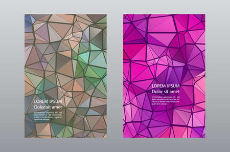 Triangles puzzle geometric cover page layouts vector set. Creative brochure front pages. Triangles mosaic business booklets graphic design. Industrial urban backgrounds. Polygonal covers.