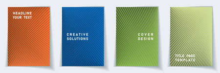Cover page creative layout vector design set. Halftone lines geometric background patterns. Certificate templates. Scientific gradient covers graphic collectoin.
