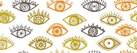 Different human eyes abstract repeatable ornament. Sketch drawing style illustration. Cosmetics wrapping print design. Open eyes on white background colorful seamless pattern.