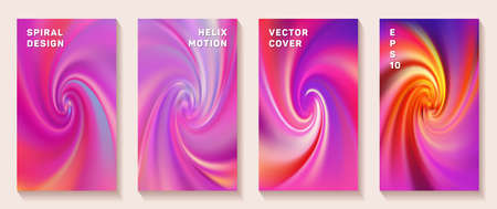 Fluid gradient spiral scroll cover page templates vector set. Abstract brochure front pages collection. Banner backgrounds with fluid colors spiral motion patterns. Vortex spin tech booklet covers.