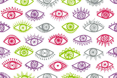 Different open eyes trendy repeatable ornament. Sketch drawing style illustration. Fashion wrapping print design. Isolated eyes on white background minimal seamless pattern. Vettoriali