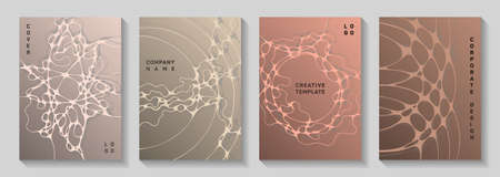 Scientific vector covers with molecular structure or nervous system cells. Rounded curve lines network backgrounds. Futuristic brochure vector templates. Chemistry or physics covers.