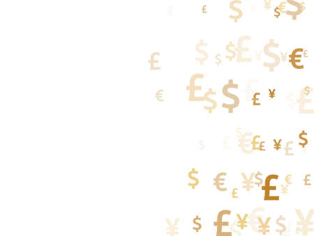 Euro dollar pound yen gold signs flying currency vector design. Sale pattern. Currency symbols british, japanese, european, american money exchange signs wallpaper.