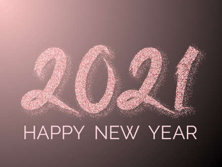2021 Happy New Year vector greeting card. Confetti particles font calligraphy. Happy New Year wishes, 2021 of confetti scatter. Luxury banner.