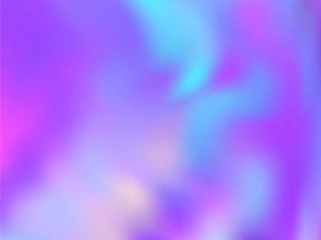 Blurred hologram texture gradient wallpaper. Stylish blue purple ultraviolet background. Liquid colors neon background. Opalescence hologram neon glitch texture vector backdrop.