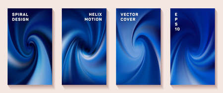 Gradient helix torsion spin cover page templates vector set. Soft brochure front pages collection. Flyer backgrounds with fluid colors dynamic helix patterns. Torsion screw tech booklet covers.
