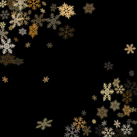 Winter snowflakes border minimal vector background.  Macro snowflakes flying border illustration, holiday banner with flakes confetti scatter frame, snow elements. Frosty cold season symbols.