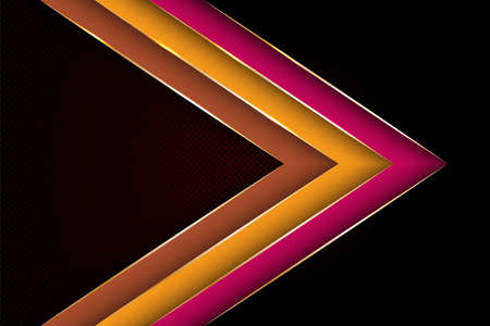 Polygonal arrow with gold triangle edge lines banner vector design. Luxury banner background template. 3d advertising graphic design. Gradient facets shapes, stripes gold edges lines vector. Vettoriali