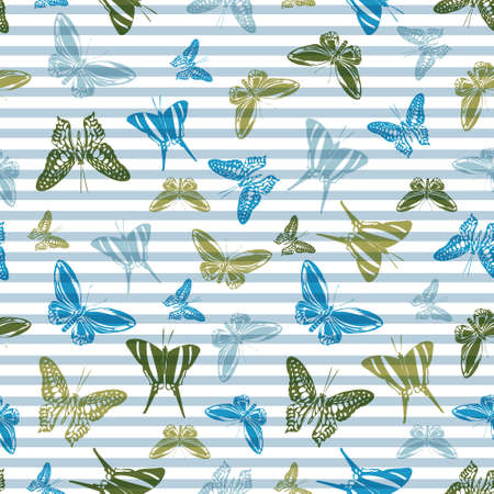 Flying spring butterfly silhouettes over horizontal stripes vector seamless pattern. Childish fashion fabric print design. Stripes and butterfly garden insect silhouettes seamless wallpaper.