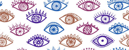 Doodle open eyes artistic seamless pattern. Sketch drawing style illustration. Fashion wrapping print design. Open eyes on white background naive repeatable ornament.