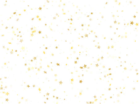 Flying gold star sparkle vector with white background. Chaotic gold gradient christmas sparkles glitter geometric star pattern. Christmas starburst magical elements.