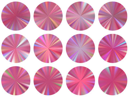 Rose gold round metallic gradient web elements vector set. Isolated modern medal shapes. Banner metal gradient texture templates. Label backgrounds graphic design. Vettoriali