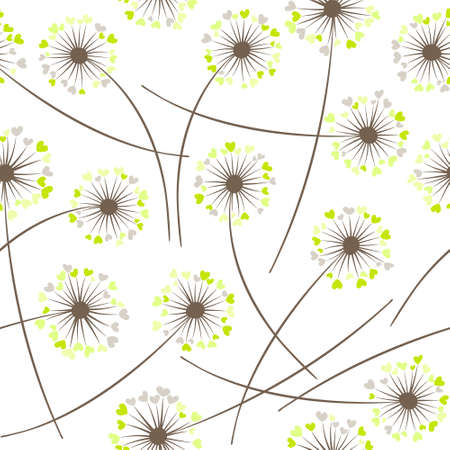 Dandelion blowing plant vector floral seamless pattern. Cute flowers with heart shaped petals. Vector dandelion herbs meadow flowers floral background. Meadow blossom textile print.