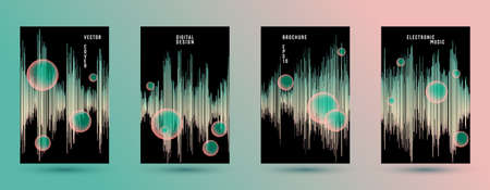 Music covers set with DJ equalizer background.  Abstract vibration amplitude.  Distorted sound wave equalizer cover templates. Soundtrack waveform. 일러스트