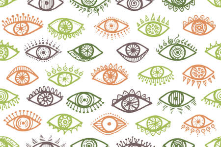 Hand drawn human eyes modern endless ornament. Pop art graphic style illustration. Fashion wrapping print design. Doodle eyes on white background ethnic repeatable pattern.