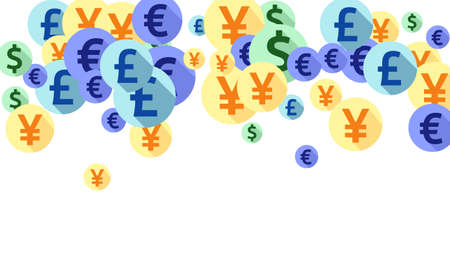 Euro dollar pound yen round icons scatter money vector illustration. Deposit concept. Currency icons british, japanese, european, american money exchange signs wallpaper.