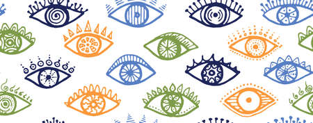 Different human eyes psychedelic seamless pattern. Sketch drawing style illustration. Makeup packaging vector design. Isolated eyes on white background artistic endless ornament. Vettoriali