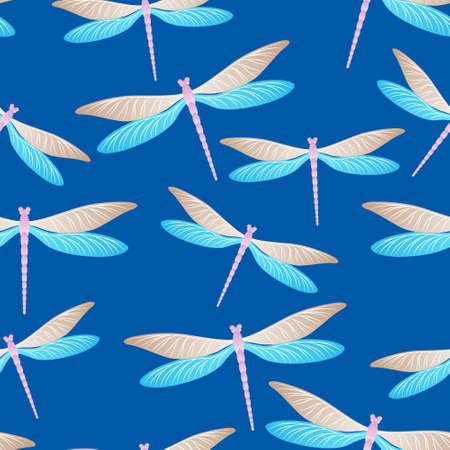 Dragonfly cool seamless pattern. Repeating dress textile print with flying adder insects. Close up water dragonfly vector background. Wildlife organisms seamless. Damselfly silhouettes. Vektorgrafik